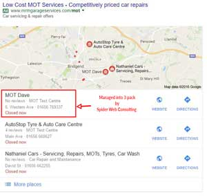 Google Maps Three Pack Example